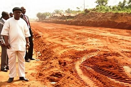 Gov Emmanuel Uduaghan of Delta state inspecting an ongoing construction project in the state.