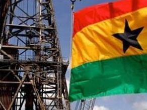 Ghana drilling with flag