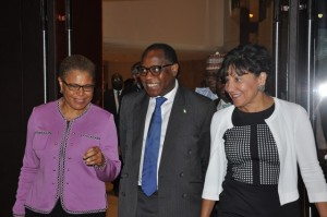 Member of the United States Congress, Karen Brass; Minister of Industry, Trade and Investment, Olusegun Aganga; and US Secretary of Commerce, Penny Pritzker
