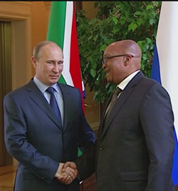 Russia's President Vladimir Putin and SA's Jacob Zuma cementing bric and building their relationship