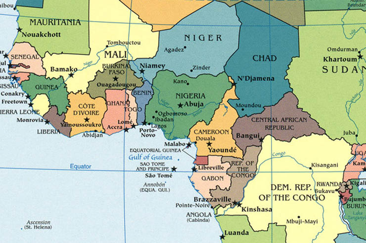 central africa map countries and capitals