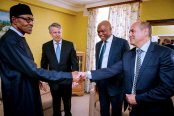President-Buhari-is-pictured-with-CEO-Royal-Dutch-Shell-Ben-Van-Beurden-MD-Shell-Petroleum-Development-Company-of-Nigeria-Mr.-Osagie-Okunbor-and-VP-Nigeria-Gabon-Shell-Mr.-Peter-Costello.-174x116.jpg