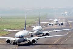 Airplanes on the runway.
