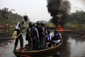 *Nigerian navy personnel being ferried to a vandalised pipeline in the Ishawo, Arepo area of Ikorodu.