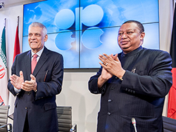*HE Abdalla El-Badri (left) and HE Mohammad Barkindo, outgoing and new Secretary General of the OPEC.