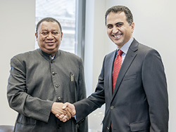 *HE Al-Mansouri right being received by HE Mohammed Sanusi Barkindo, The Secretyary-General at the OPEC headquarters in Vienna, Austria.