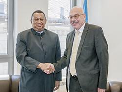 *HE Vladimir Voronkov (right) and HE Mohammed Barkindo.