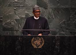 *President Muhammdu Buhari addressing the 71st session of the UN general-assembly.
