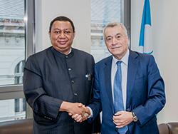 *Natig Aliyev, Azerbaijan's Minister of Energy (r) with HE Mohammad Sanusi Barkindo, OPEC Secretary General.