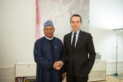 *Christian Kern, Austria's Federal Chancellor (r) with HE Mohammad Sanusi Barkindo, OPEC Secretary General.