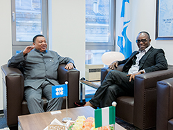 *Dr. Emmanuel Ibe Kachikwu, Nigeria's Minister of State for Petroleum Resources (r) with Dr. Barkindo, OPEC Secretary-General.