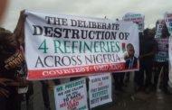 Breaking - Oil workers protest in Port Harcourt, demand Kyari's sack over moribund refineries